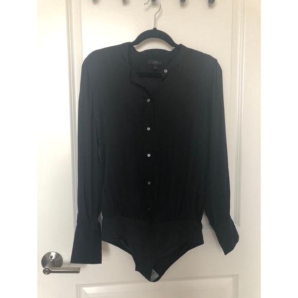 163e278a J. Crew Tops | Jcrew Stretch Tailored Perfect Silk Bodysuit | Poshmark